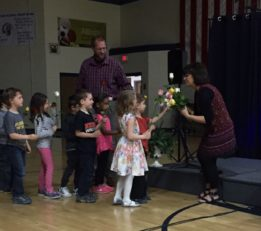 Shannon receives a rose from each kindergartener in her current class.